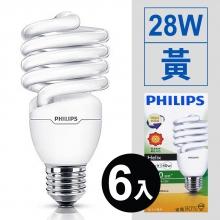 螺旋省電燈泡 28W/110V*6入 [黃]