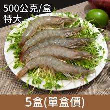 卡馬龍巨無霸 美洲白晶蝦(20/30)500公克/盒5盒(單盒價)
