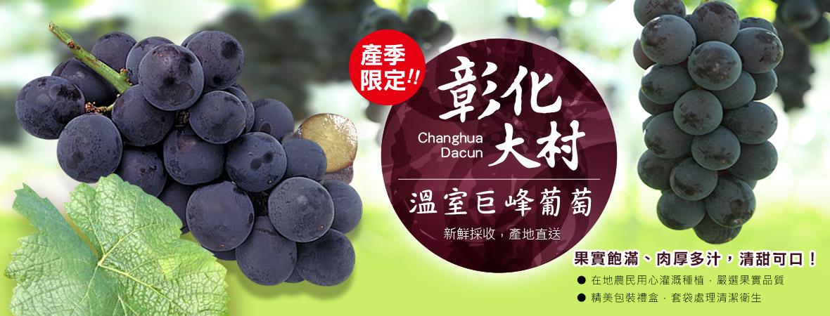 台灣紅時尚鮮果大村溫室巨峰葡萄